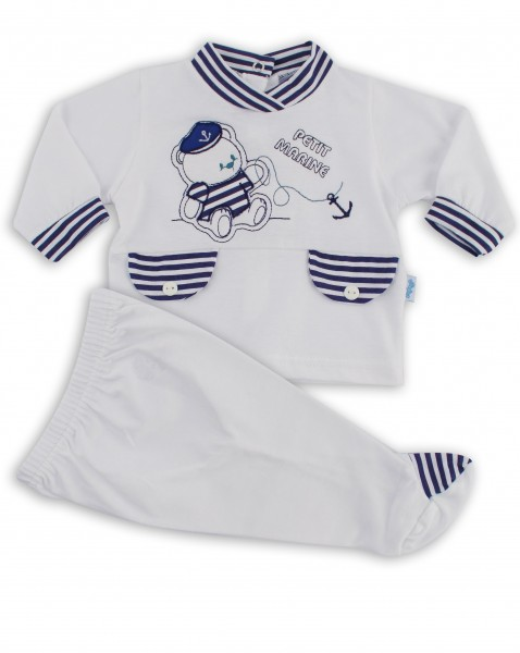 baby footie outfit jersey bear petit marine outfit. Colour white, size first days White Size first days