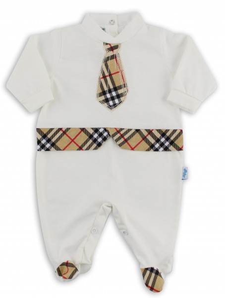 Baby footie image in jersey Scottish tie. Colour creamy white, size 1-3 months Creamy white Size 1-3 months
