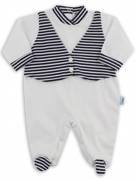 Baby footie image in jersey vest stripes. Colour white, size 3-6 months White Size 3-6 months