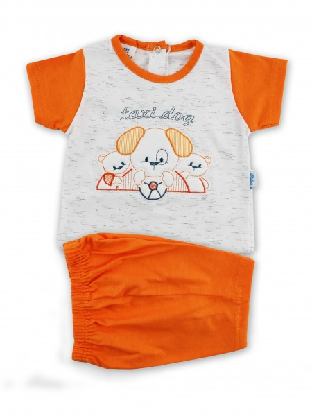 Picture baby footie outfit cotton jersey taxi dog. Colour orange, size 6-9 months Orange Size 6-9 months