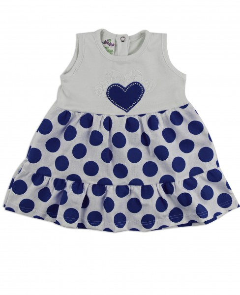 Picture baby footie dress cotton heart and polka dots. Colour blue, size 6-9 months Blue Size 6-9 months