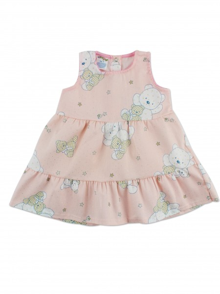 Picture baby footie vest cotton piquet bears and stars. Colour pink, size 9-12 months Pink Size 9-12 months