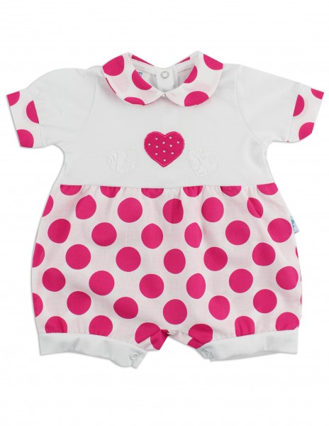 Image baby footie break hearts and polka dots. Colour coral pink, size 0-1 month Coral pink Size 0-1 month