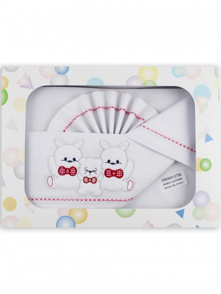 Picture accompanied cotton cot three friends. Colour red, one size Red One size