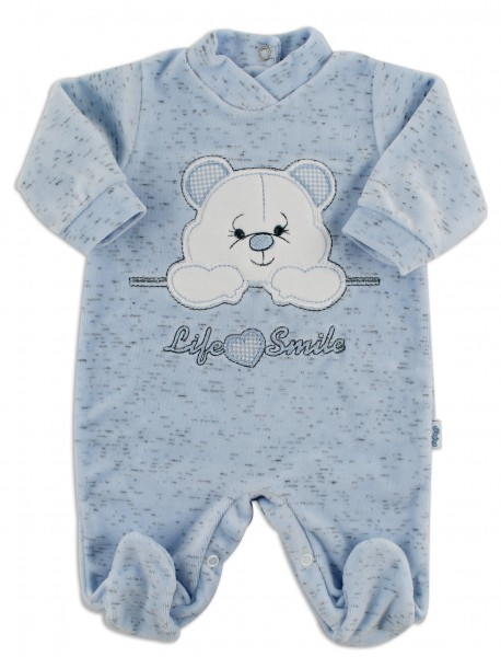 Image baby footie chenille life smile. Colour light blue, size 0-1 month Light blue Size 0-1 month
