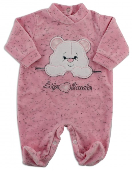 Image baby footie chenille life smile. Colour pink, size 1-3 months Pink Size 1-3 months