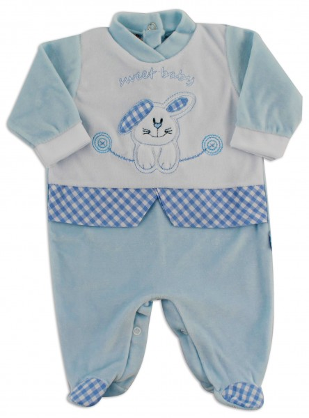 Image baby footie chenille sweet baby. Colour light blue, size 3-6 months Light blue Size 3-6 months