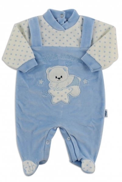 Chenille baby footie image sweet mother. Colour light blue, size 0-1 month Light blue Size 0-1 month