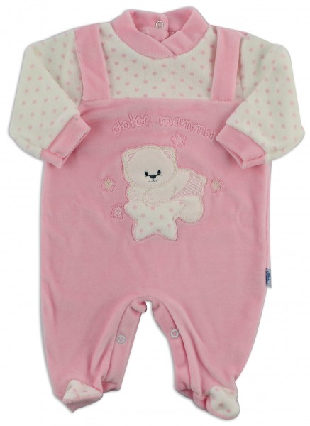 Chenille baby footie image sweet mother. Colour pink, size 6-9 months Pink Size 6-9 months