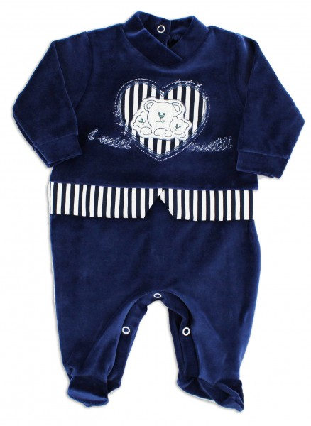 Picture baby chenille footie my bears. Colour blue, size 0-1 month Blue Size 0-1 month