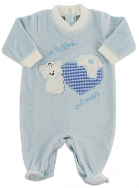 Picture baby chenille footie a dip of sweetness. Colour light blue, size 1-3 months Light blue Size 1-3 months