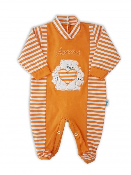 Picture baby footie in jersey loves. Colour orange, size 1-3 months Orange Size 1-3 months