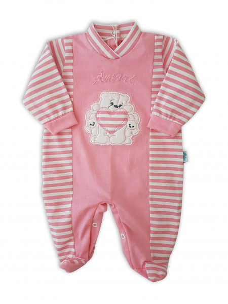 Picture baby footie in jersey loves. Colour coral pink, size 0-1 month Coral pink Size 0-1 month