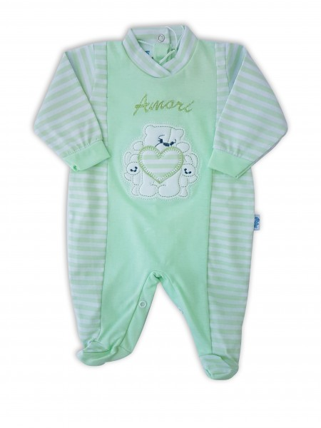Picture baby footie in jersey loves. Colour pistacchio green, size 3-6 months Pistacchio green Size 3-6 months