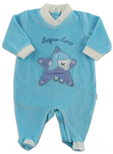 Baby image footie chenille dreams gold star. Colour turquoise, size 0-1 month Turquoise Size 0-1 month