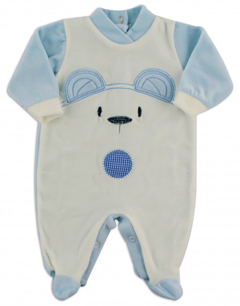 Chenille baby footie image of the white bear. Colour light blue, size 3-6 months Light blue Size 3-6 months
