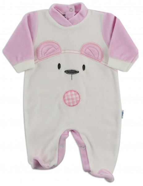 Chenille baby footie image of the white bear. Colour pink, size 6-9 months Pink Size 6-9 months