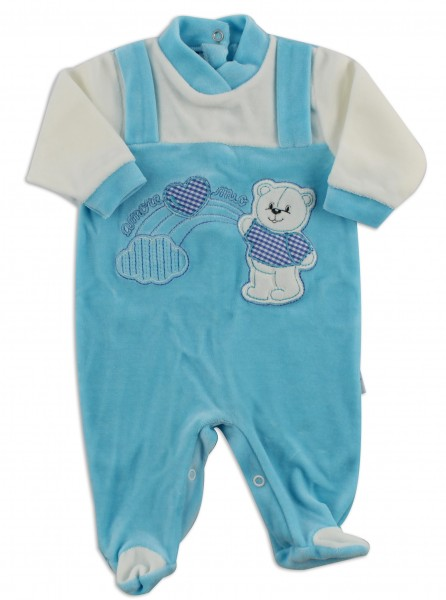 Picture baby footie chenille baby bear rainbow heart. Colour turquoise, size 0-1 month Turquoise Size 0-1 month