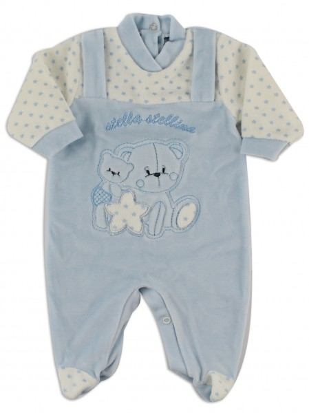 Image baby footie chenille star star. Colour light blue, size 0-1 month Light blue Size 0-1 month