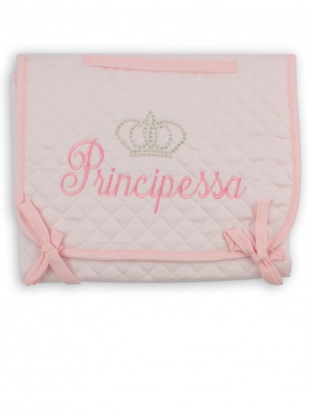 Image accompanied travel changing mat in cotton. Colour pink, one size Pink One size