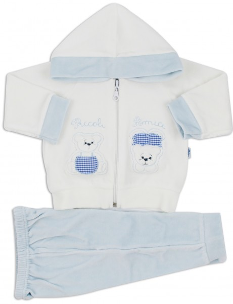 Picture Coverall Hooded Friends Bears. Colour light blue, size 3-6 months Light blue Size 3-6 months