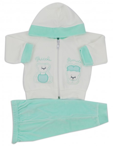 Picture Coverall Hooded Friends Bears. Colour green, size 3-6 months Green Size 3-6 months