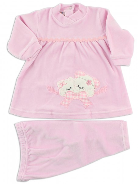 image baby footie outfit clinical chenille jib. Colour pink, size 0-1 month Pink Size 0-1 month