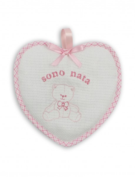Birth rosette image above cotton heart. Colour pink, one size Pink One size