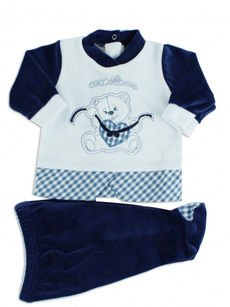 Picture baby footie outfit chenille pamper me. Colour blue, size 1-3 months Blue Size 1-3 months