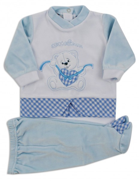 Picture baby footie outfit chenille pamper me. Colour light blue, size 3-6 months Light blue Size 3-6 months