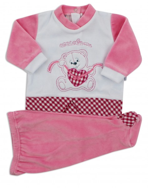 Picture baby footie outfit chenille pamper me. Colour coral pink, size 3-6 months Coral pink Size 3-6 months