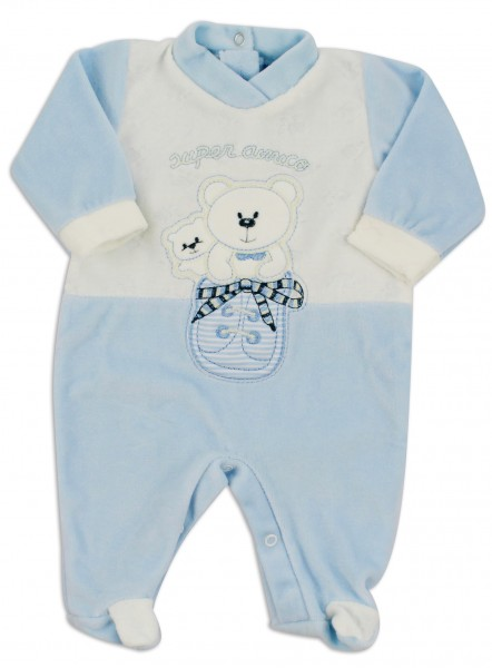 baby footie chenille super friend. Colour light blue, size first days