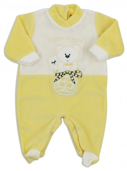 Baby image footie chenille super friend. Colour yellow, size 6-9 months Yellow Size 6-9 months