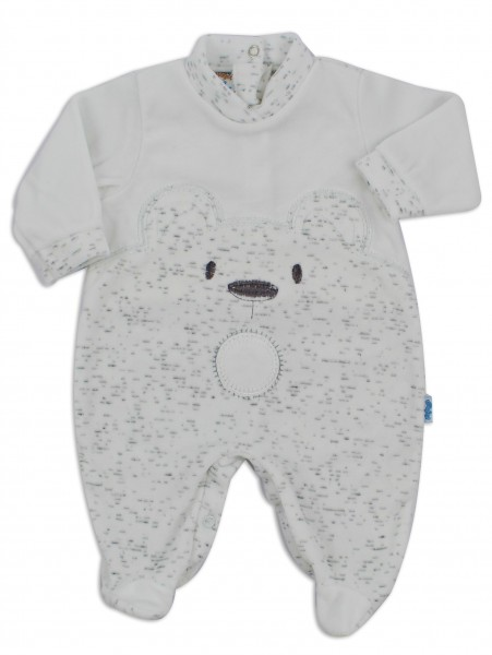 Chenille baby footie image of the melange bear. Colour white, size 6-9 months White Size 6-9 months