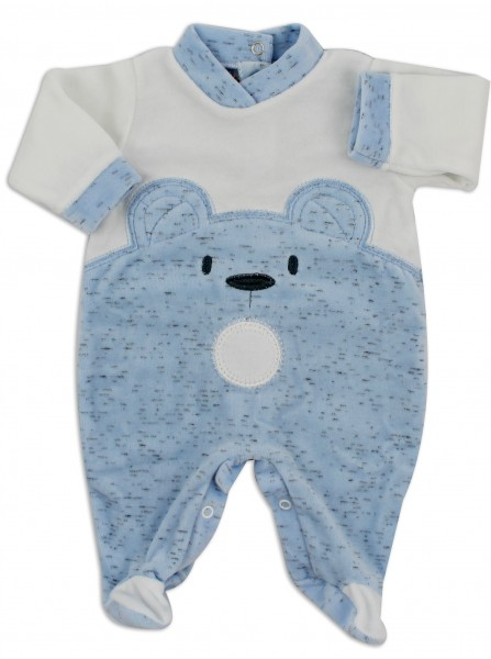 Chenille baby footie image of the melange bear. Colour light blue, size 6-9 months Light blue Size 6-9 months