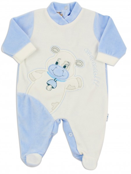 Picture baby footie chenille cow cow. Colour light blue, size 1-3 months Light blue Size 1-3 months