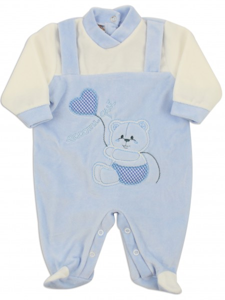 Picture baby footie chenille here I am. Colour light blue, size 9-12 months Light blue Size 9-12 months