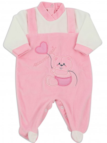 Picture baby footie chenille here I am. Colour pink, size 9-12 months Pink Size 9-12 months