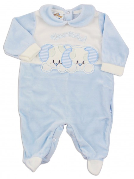 Picture baby footie chenille tender little dogs. Colour light blue, size 0-1 month Light blue Size 0-1 month