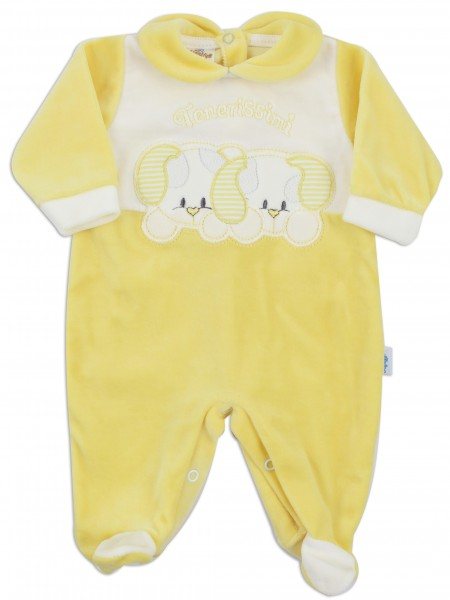 Picture baby footie chenille tender little dogs. Colour yellow, size 0-1 month Yellow Size 0-1 month