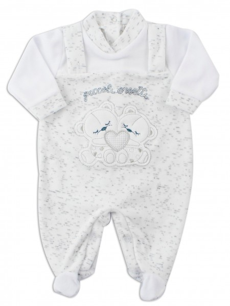 Picture baby chenille footie small bears. Colour white, size 3-6 months White Size 3-6 months