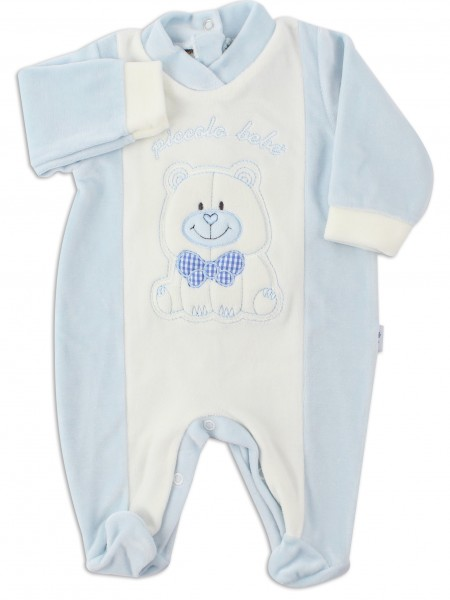 Picture baby footie chenille smallobeb. Colour light blue, size 0-1 month Light blue Size 0-1 month