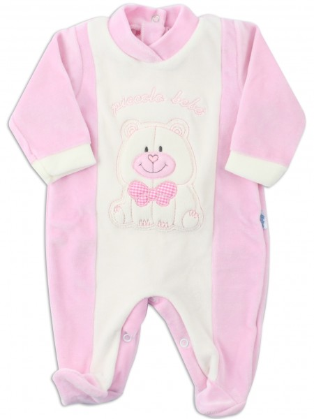Picture baby footie chenille smallobeb. Colour pink, size 0-1 month
