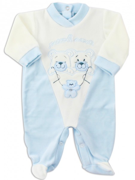 Image baby footie chenille little friends. Colour light blue, size 0-1 month Light blue Size 0-1 month