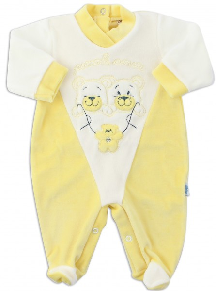 Picture baby footie chenille little friends. Colour yellow, size 3-6 months Yellow Size 3-6 months