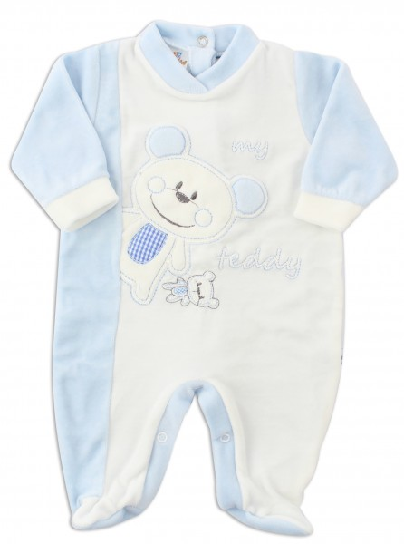 Picture baby footie chenille bear teddy. Colour light blue, size 3-6 months Light blue Size 3-6 months