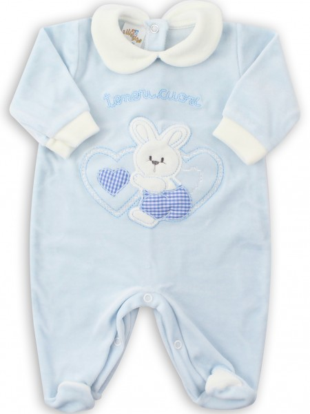 Picture baby footie chenille tender hearts. Colour light blue, size 0-1 month Light blue Size 0-1 month