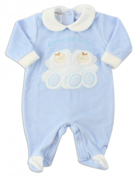 Picture baby footie chenille heart friend. Colour light blue, size 6-9 months Light blue Size 6-9 months