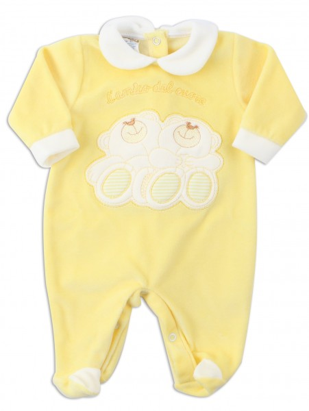 Picture baby footie chenille heart friend. Colour yellow, size 0-1 month Yellow Size 0-1 month