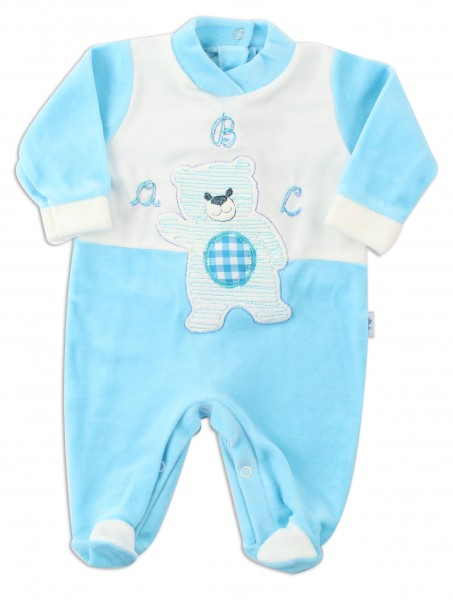 Picture baby footie chenille baby bear a b c. Colour turquoise, size 0-1 month Turquoise Size 0-1 month